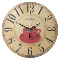 """Настенные часы из дерева Династия 02-028 """"Чашка"""""""