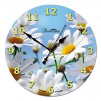 """Настенные часы из стекла Династия 01-022 """"Ромашки"""""""