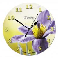 """Настенные часы из стекла Династия 01-023 """"Фиолетовый цветок"""""""