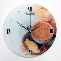 """Настенные часы из стекла Династия 01-076 """"Кофе с корицей"""""""