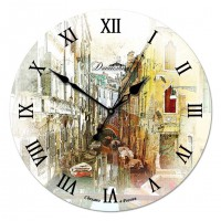 """Настенные часы из дерева Династия 02-003 """"Улица в Венеции"""""""
