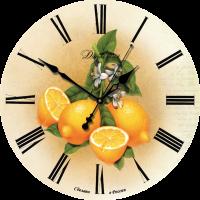 """Настенные часы из дерева Династия 02-006 """"Лимоны"""""""
