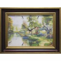 Часы картины Династия 04-005-14 Домик у реки