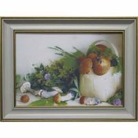 Часы картины Династия 05-040-03 Лукошко с грибами